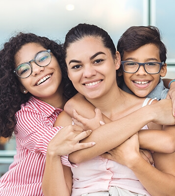 mother with her son and daughter